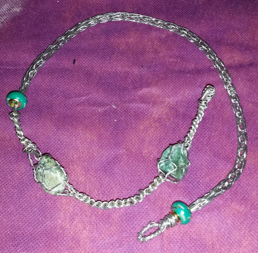 Viking Knit and Braided Wire Necklace