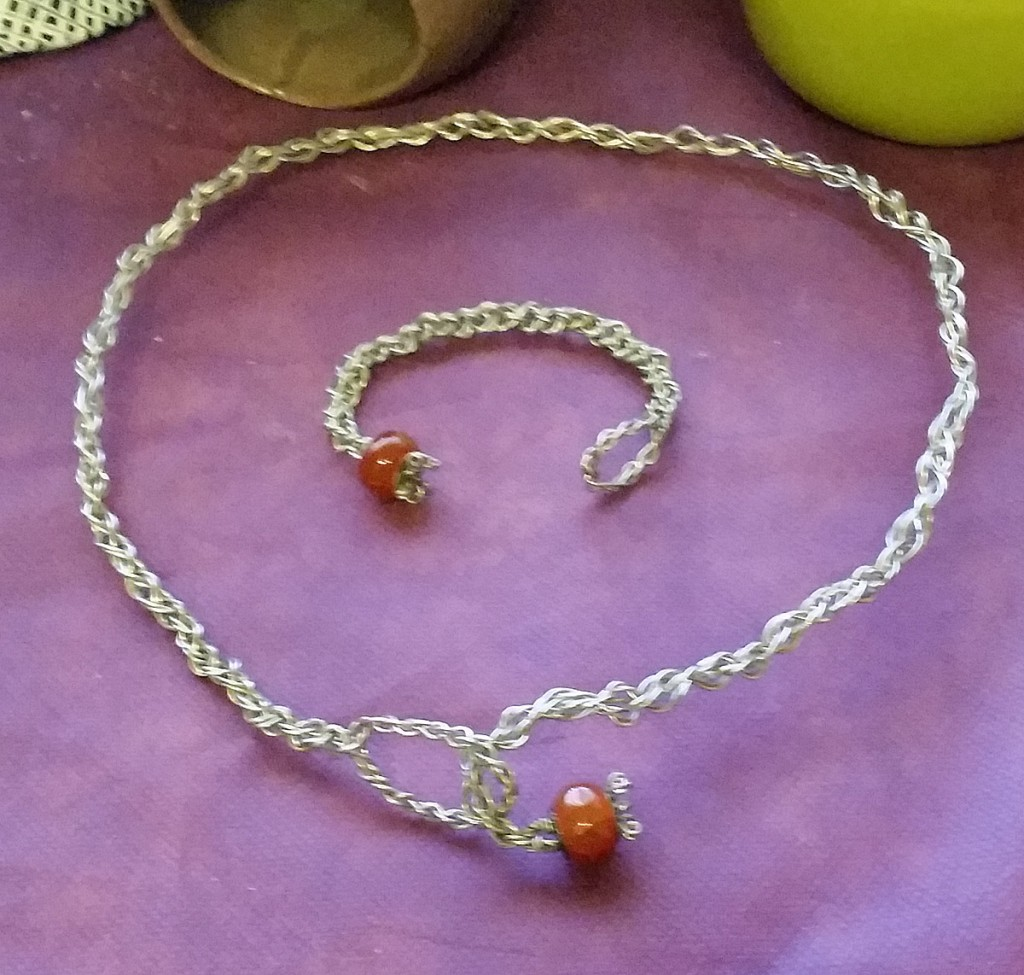 Handmade Braided Wire Torc With Carnelian Agate