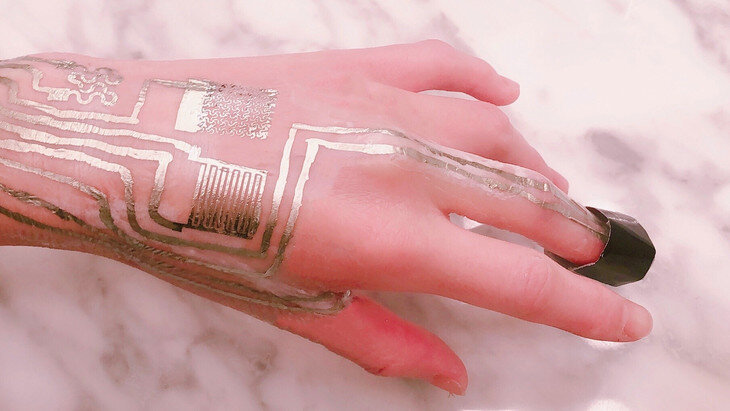 Scientists print wearable biometric sensors directly on the skin without heat